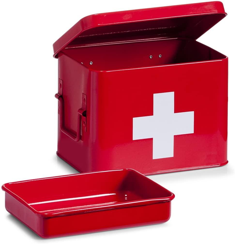 Zeller First Aid Box 21,5x16x16cm in red, 21.5 x 16 x 16 cm
