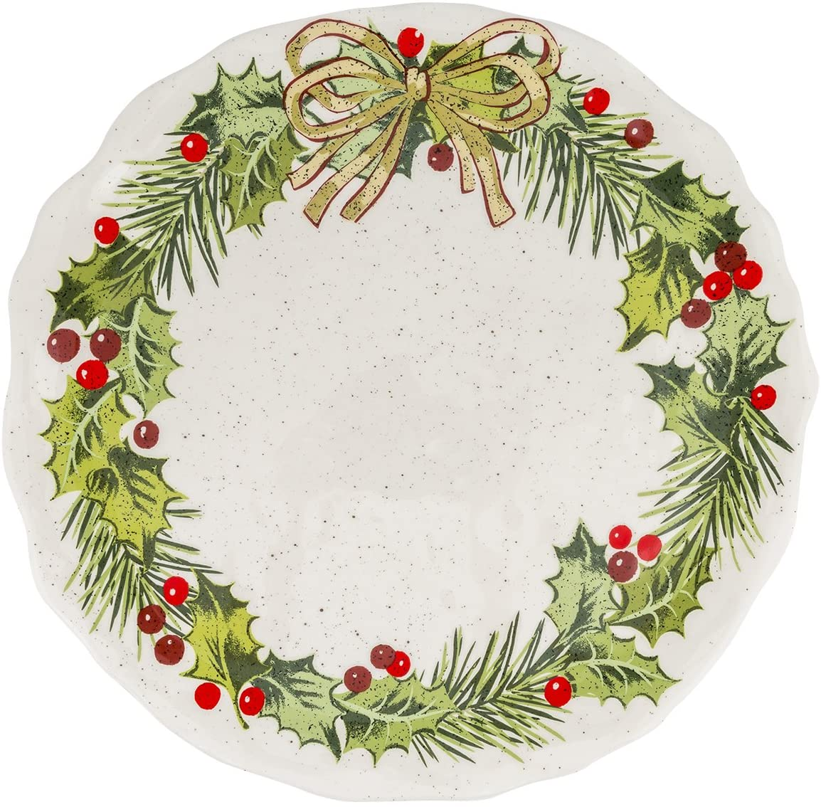 Grasslands Road Christmas Pinewood Dishwear, Holly Accent Plate