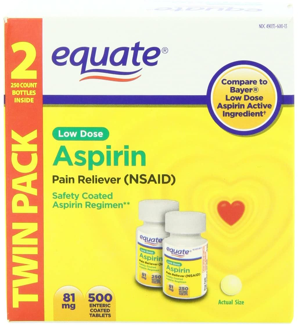 Equate Low Dose Aspirin Pain Reliever, 500 Count