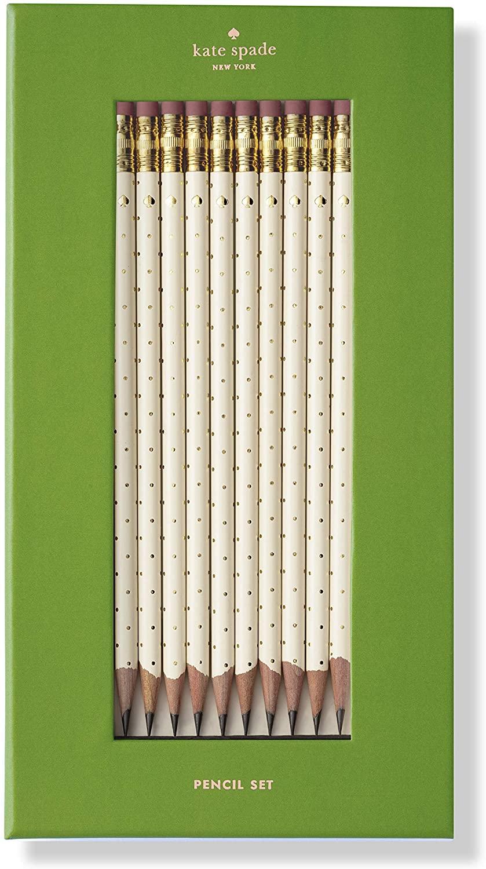 Kate Spade New York Wooden Pencil Set of 10, Gold Dot