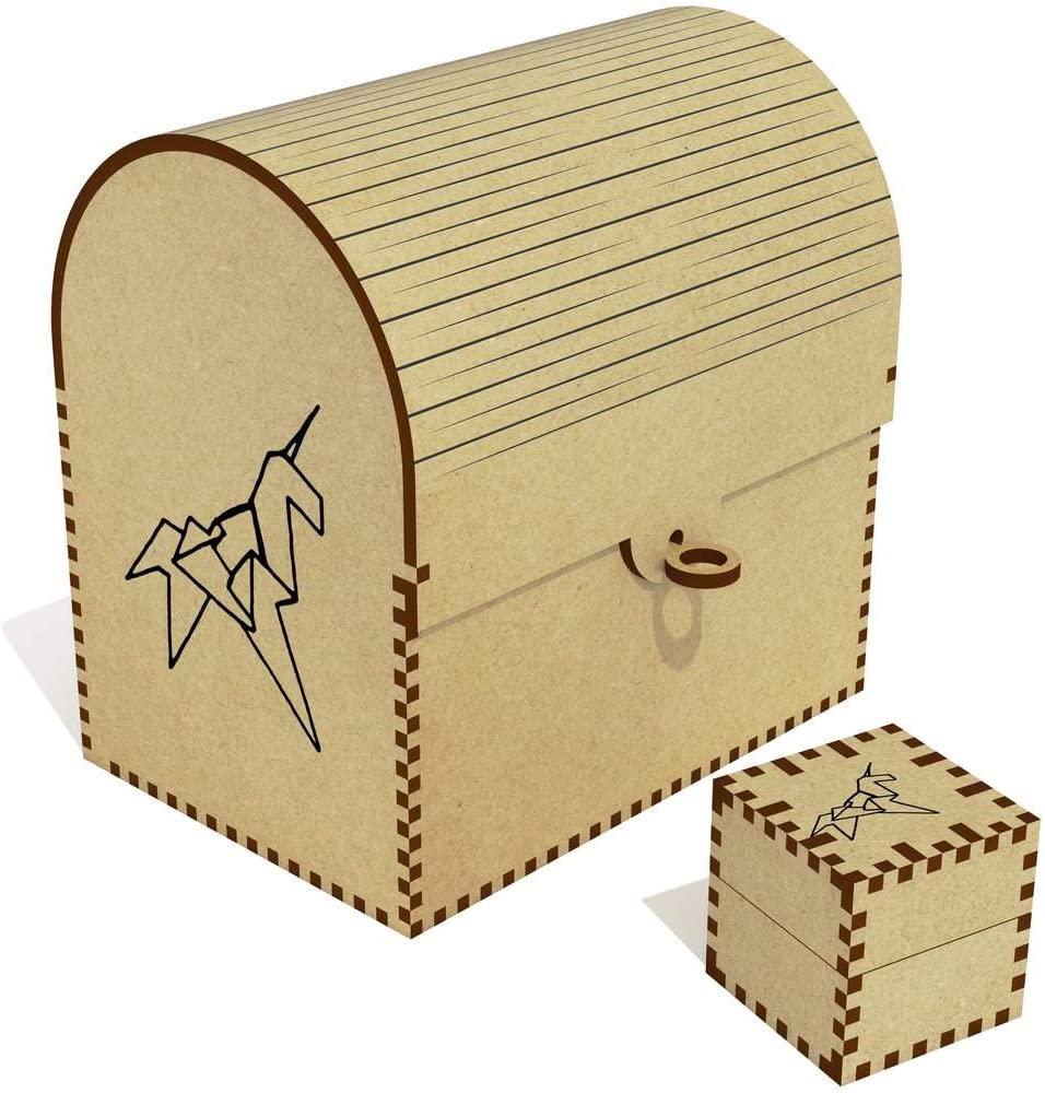 Azeeda Origami Unicorn Treasure Chest / Jewellery Box (TC00027963)