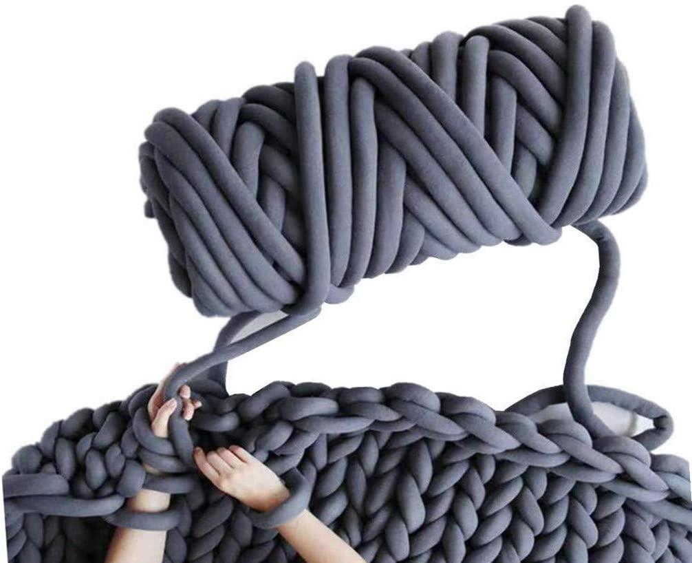 Arm Knitting Yarn, Hand Knitting, Arm Knit Yarn, Jumbo Yarn, Cotton Tube Yarn Super Soft Washable Bulky Giant Yarn for Extreme Arm Knitting DIY (Dark Grey, 2.3 lbs / 47 Yards)
