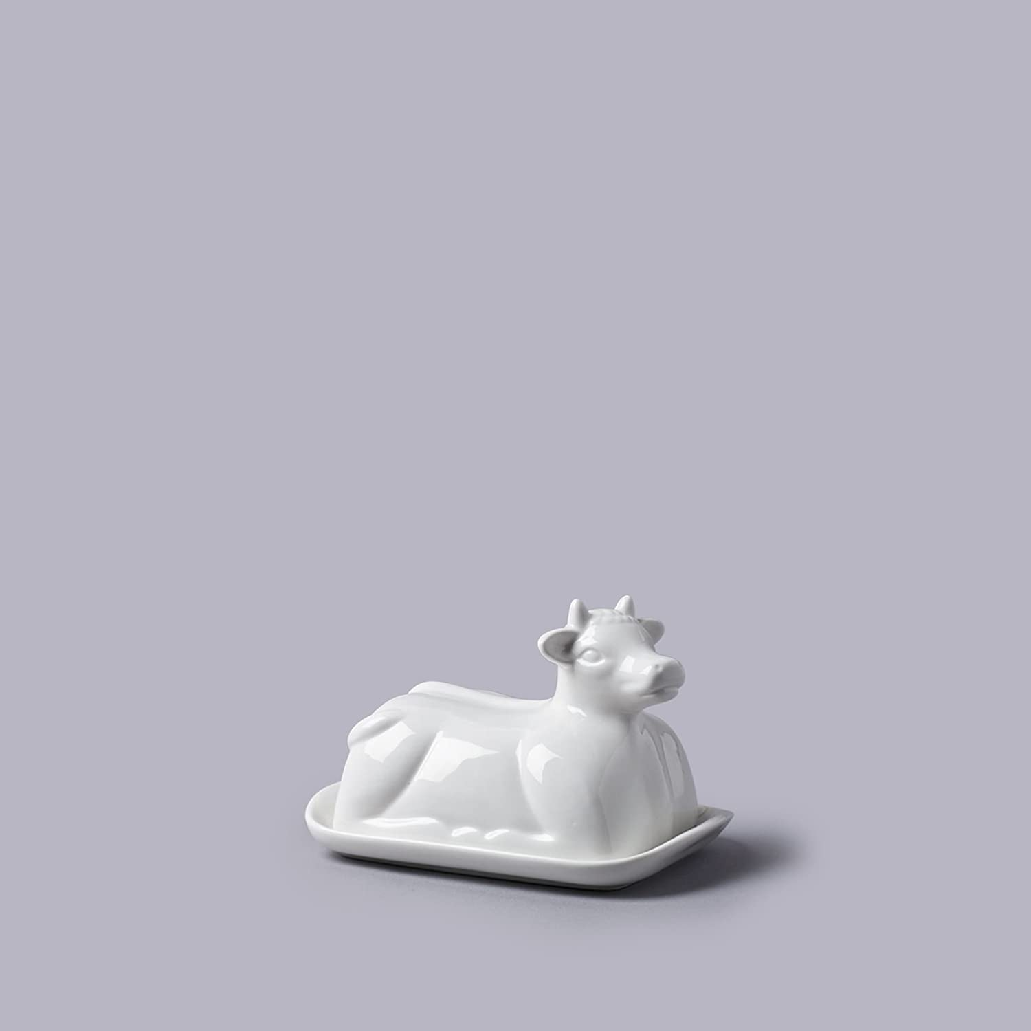Cow Themed White Ceramic Butter Dish (19x14x7cm)