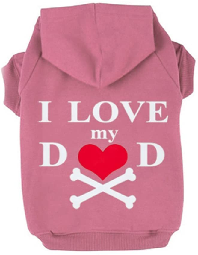 Pet Winter Hoodies, Dog Warm Clothes Cat Puppy Windproof Jumpsuit Love Heart Coat Comfortable Cotton Blend I Love My Dad Printed Hoodies
