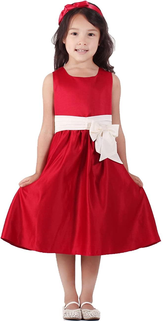 Funtrees Little Girls Classic Wrap Bodice Pleated Waist Flowers Girls Dresses