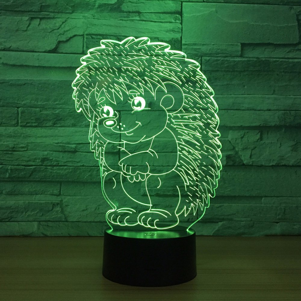 LED Night Light with Animal Hedgehog Pattern,7 Colors Changing with USB Cable,Touch Remote Control, Best for Children Gift Baby Bedroom and Party Decorations.