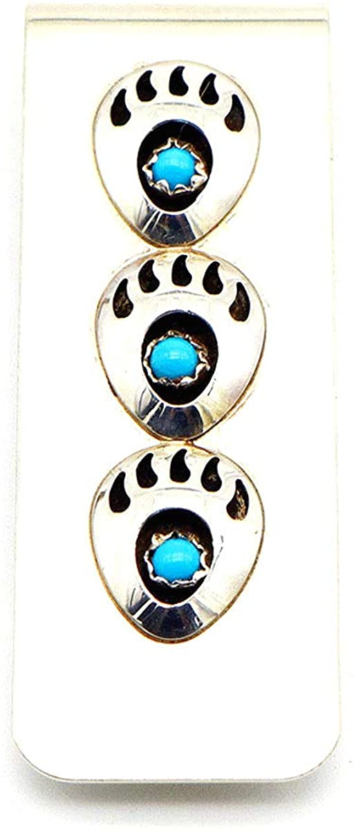Navajo Hand Crafted Money-clip with 3 Bear Claws Blue