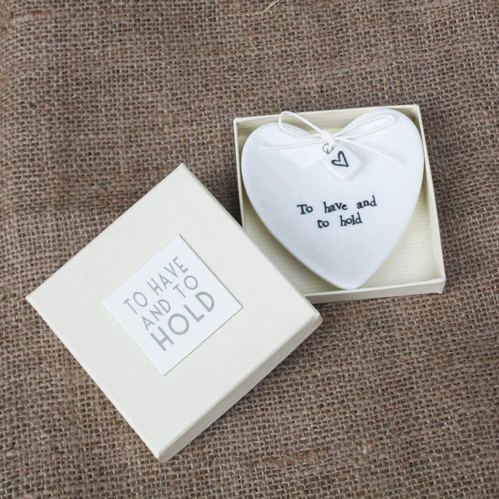 East of India 'To Have And To Hold' Large White Porcelain Heart Ring Dish Gift - Wedding Gift