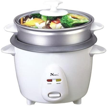 NARITA NRC-150 3-Cup Non-Stick Rice Cooker with Steamer, White