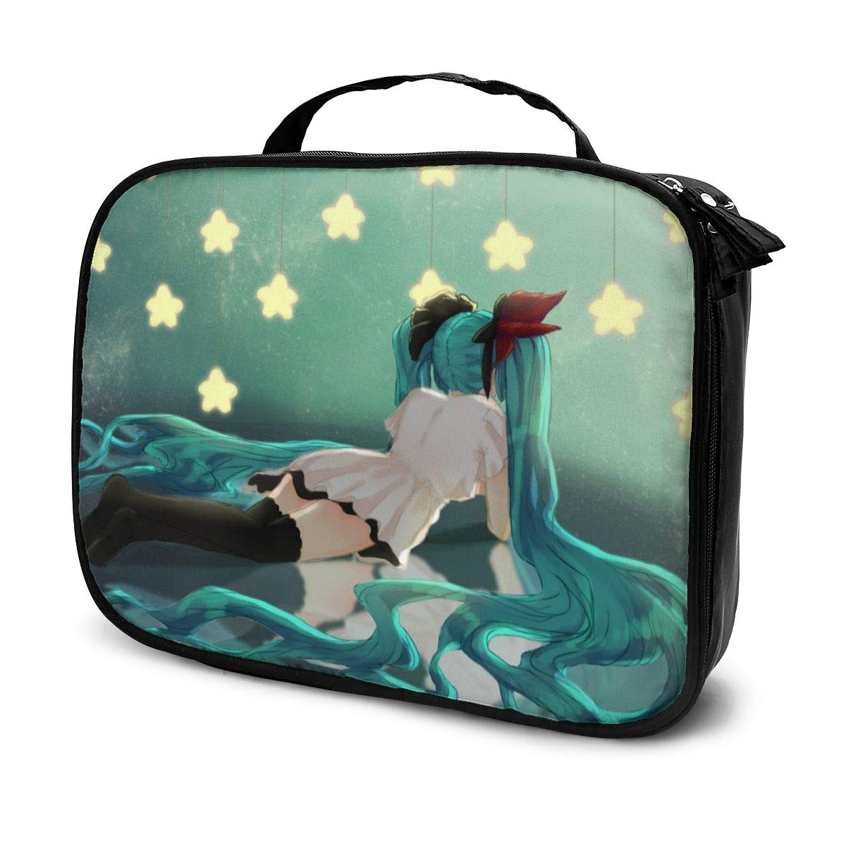 Hatsune Miku Makeup Bag Travel Toiletry Bags Large Cosmetic Cases For Women Girls 7.4 X 9.8 Inches