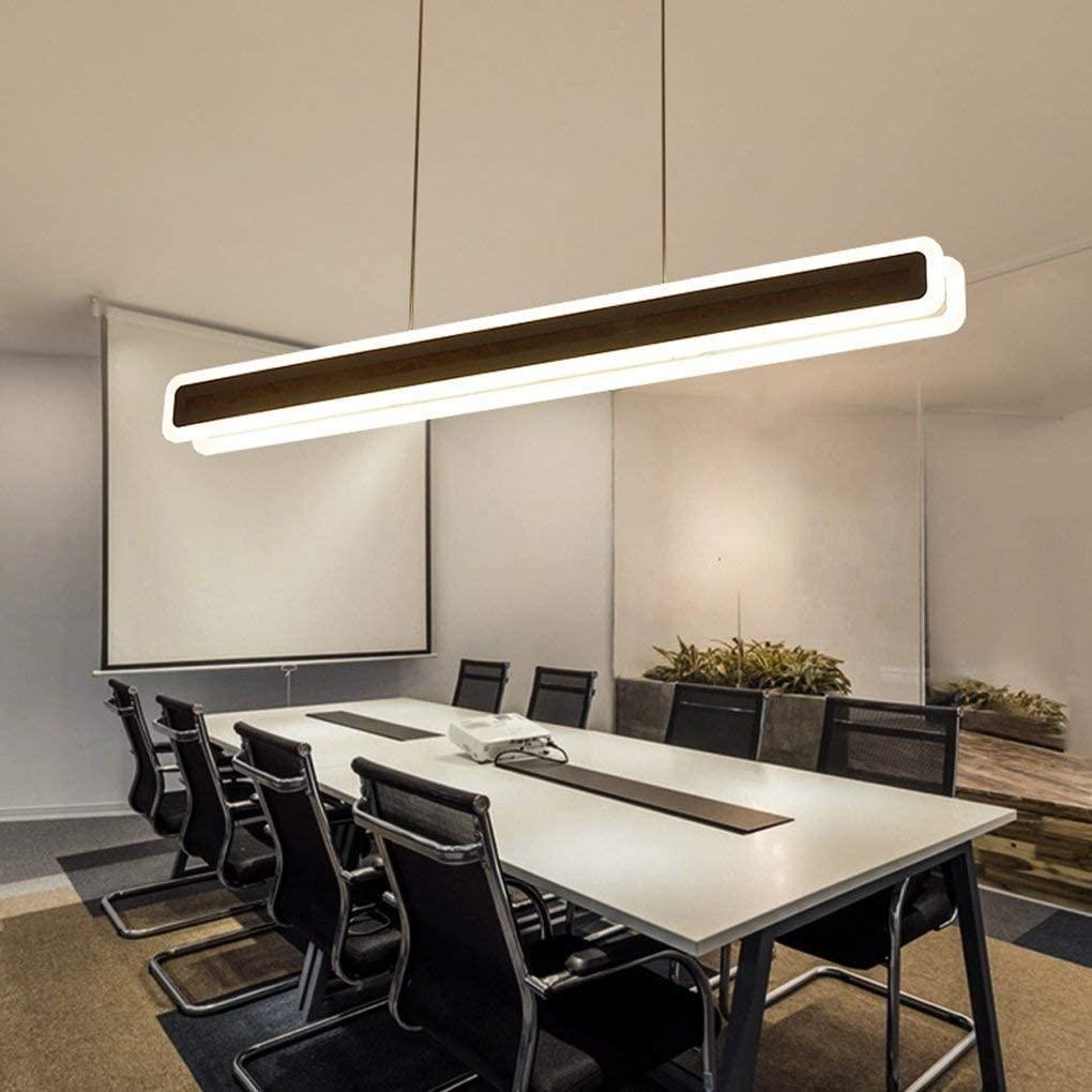 BOSSLV Light Modern Minimalism Led Parlor Dining Hall Bedchamber Study Office Chandelier Creative Rectangle Hanging Lamp Acrylic Metal Decorative Ceiling Lighting L60CmW9Cm Warm Light 46W