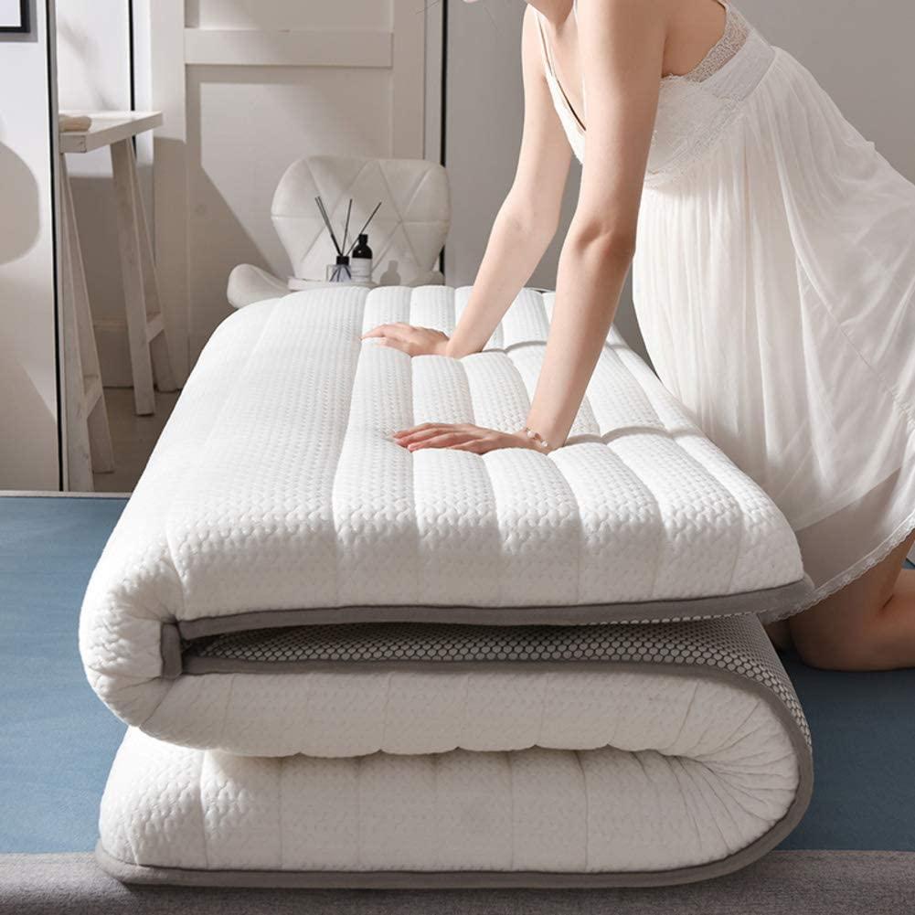 NHMT Latex Mattress Topper, Thick Sponge Tatami Floor Mat Student Dormitory Floor Futon Mattresses-Grayish White-10cm Full: 120x200cm(47x79inch)