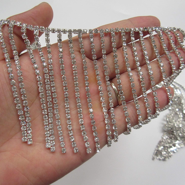 30cm Bling Diamante Diamond Trim Ribbon Tassel Fringe Rhinestone 8cm Width Chain Crystal Gem Sparkle Wedding Bridal Necklace Prom Evening Dress Applique Party Show Accessories Sash Belt Headwear Craft