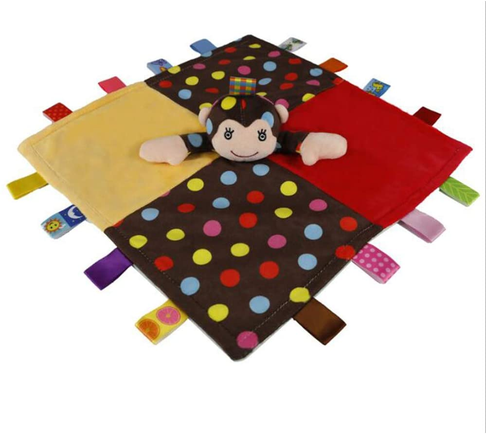 Inchant Colorful Tags Baby Security Blankets with Animal Head Soft Plush Comforter Label Blankie for Kids, Cute Monkey
