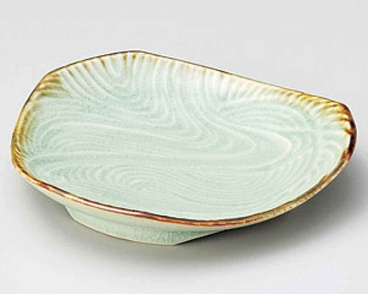 Suigyoku Ryusui 5.7inch Set of 5 Small Plates Green porcelain Made in Japan