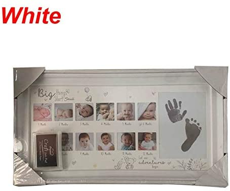 Handprint Footprint Photo Frame New Baby 12 Months Hand Foot Print Commemorative Photo Frame Newborn Growth Record K1MA Photo Frame (Color : White)