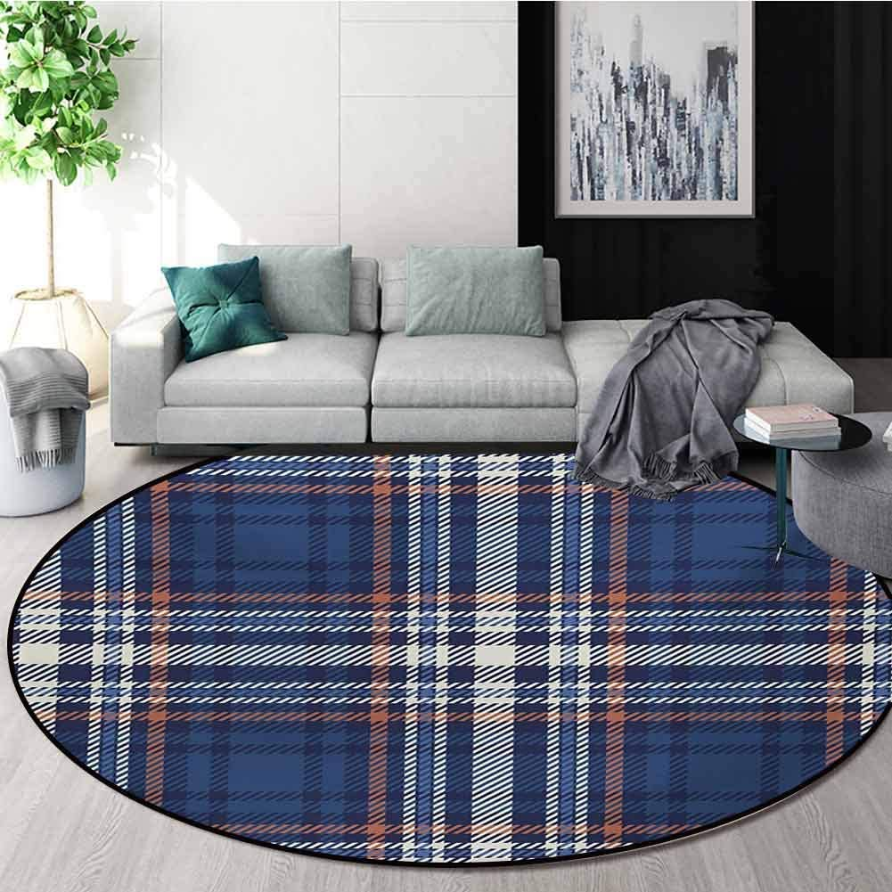RUGSMAT Checkered Machine Washable Round Bath Mat,Abstract Striped Design Scottish Culture Inspired Celtic Fashion Non-Slip No-Shedding Bedroom Soft Floor Mat,Round-71 Inch Night Blue Cinnamon White