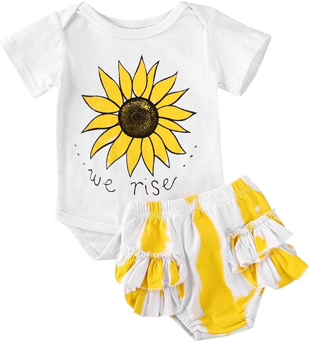 Newborn Infant Baby Girls Sunflower Romper Jumpsuit Lace Lotus Leaf Shorts Dress Summer Outfits 2pcs