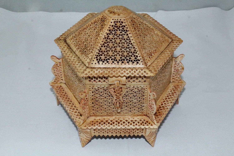 PH Artistic Handmade Trinket Box Camel Bone Filigree Work Antique Finish Hexagonal Shape