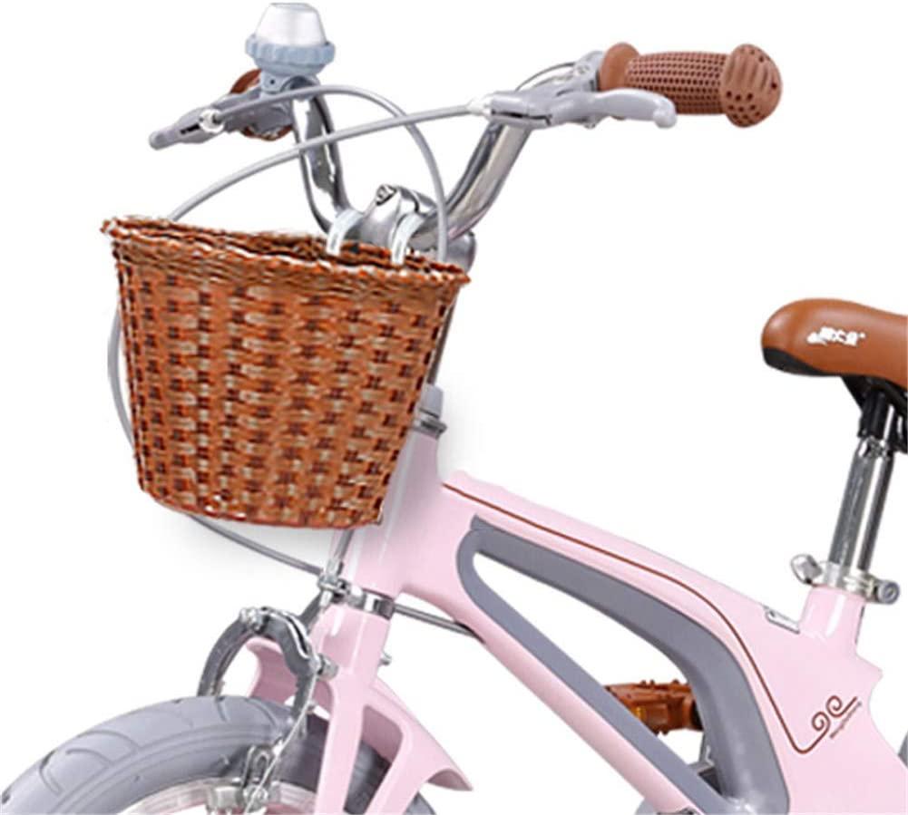 ZHOUHUAW Childrens Bicycle Front Basket, with Adjustable Straps, Handlebar Rattan Basket for Childrens Boys Girls Bike Basket