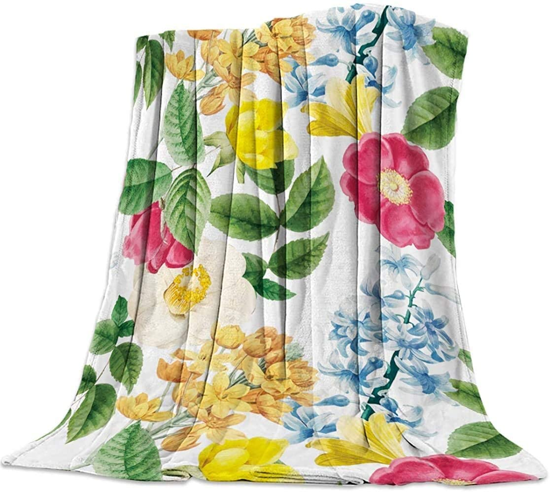 Colorful Painted Floral Flower Pattern Super Soft Plush Blanket Mother's Day Theme Flannel Best Gift Custom Sherpa Fleece Blanket Quilt for Kids Children Dad Mom