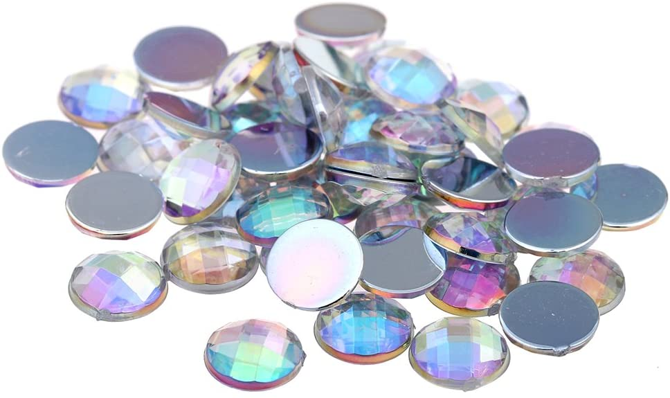 Nizi Jewelry Crystal AB Color Round Shape Acrylic Rhinestones Flatback Earth Faceted Strass Gems 3D Nail Art Decorations Craft Art Accessories 12MM 30PCS