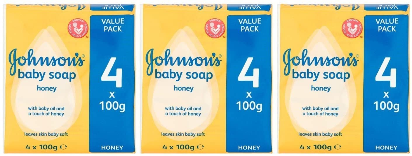 Johnson's Baby Soap with Baby Oil and a Touch of Honey, 100 G / 3.5 Oz Each, 4 Count (Pack of 3) 12 Bars Total