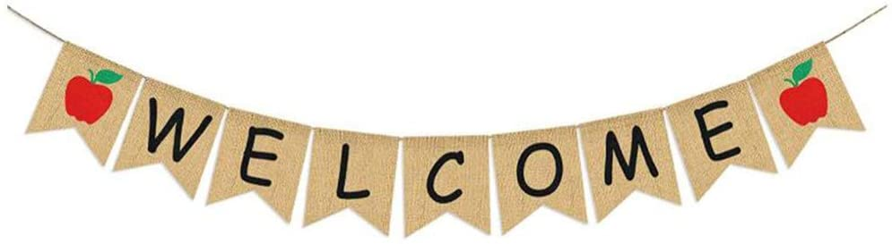 Burlap Welcome Banner Party Decorations - Zhjdongtuo Kindergarten Welcome Banner Camping Party Decor Party Banner Welcome Banner Classroom For Preschool Back To School Students Including Red Apple Design