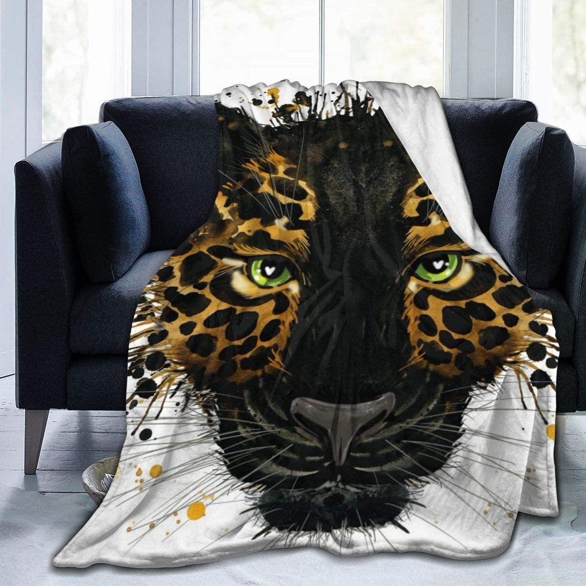 Micro Fleece Plush Soft Baby Blanket Cute Animal Jaguar Face Fluffy Warm Toddler Bed/Crib Blanket Lightweight Flannel Daycare Nap Kids Sleeping Tummy Time Throw Blanket Girls Boy Clearance Kid/Baby