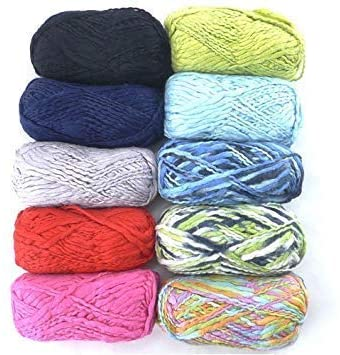 70% Rayon from Bamboo Fiber 30% Wool Blend - Thick Thin - 4 Skein Assorted Color Surprise Package