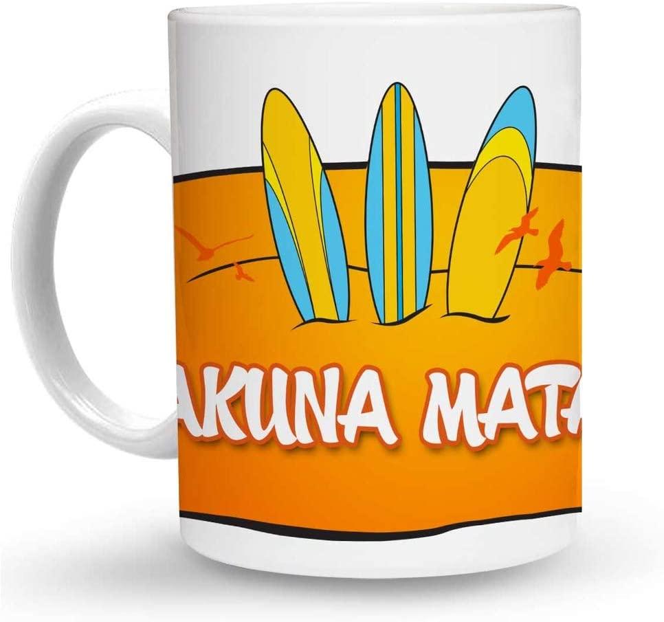 Makoroni - HAKUNA MATATA Surf Surfing 6 oz Ceramic Espresso Shot Mug/Cup Design#22