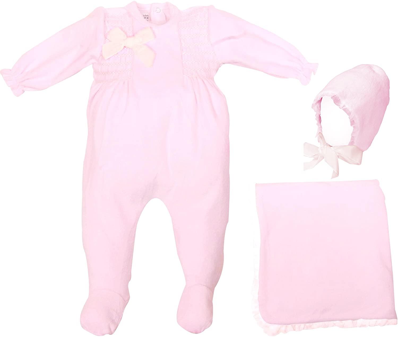 Newborn Baby Velour Smocked Footie Receiving Blanket Organza Ruffle Hat Set