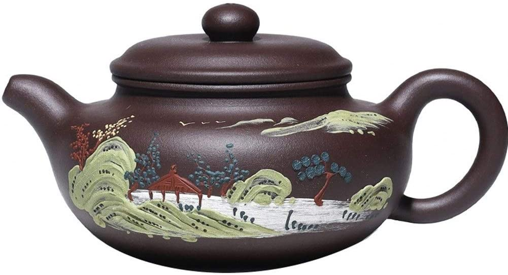 Kungfu Porcelain Lid Teas Teacups Sets Teapot Ore Purple Clay Mud Painting Large Landscapes Tea Products LEBAO (Color : Red)