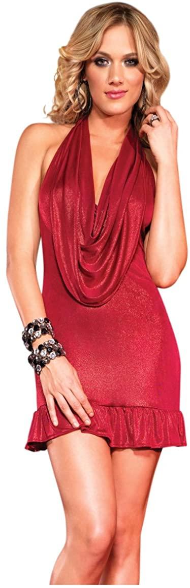 Leg Avenue Women's Shimmer Foil Halter Dress