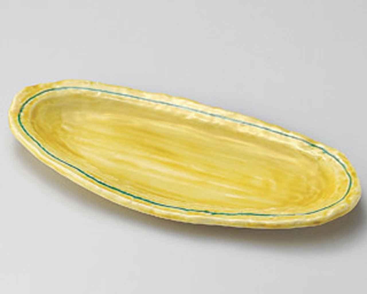 Kohaku Oval 12.2inch Medium Plate Yellow Ceramic Made in Japan