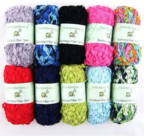 70% Bamboo, 20% Cotton, 10% Nylon Blend - Fun and Funky - 4 Skein Assorted Color Surprise Package