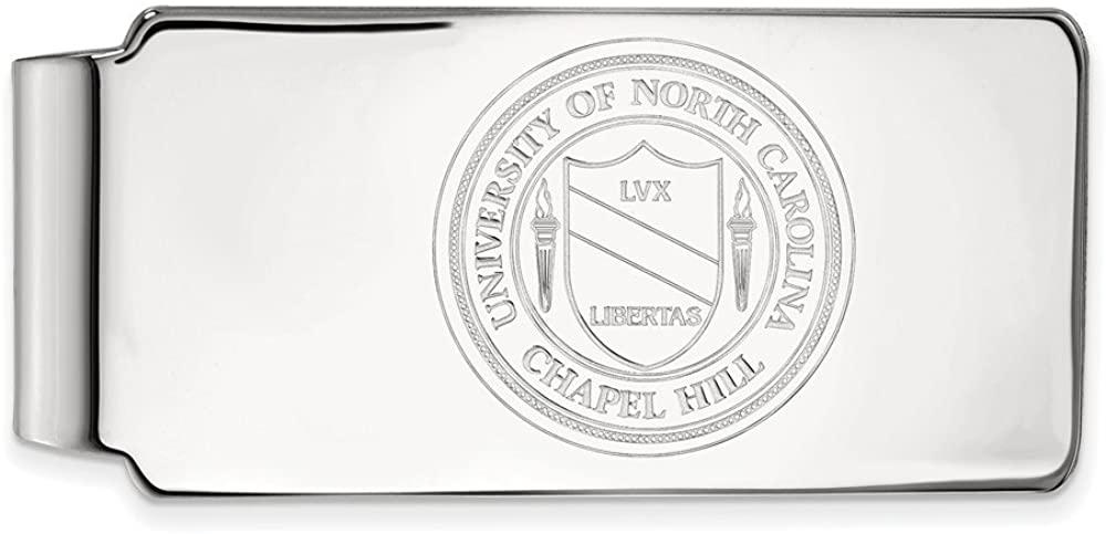 Solid 14k White Gold Official University of North Carolina Slim Business Credit Card Holder Money Clip Crest - 53mm x 24mm