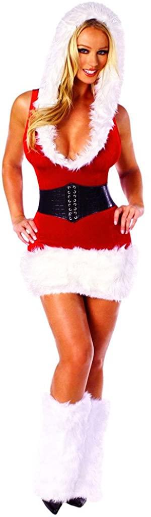 Sexy Vintage Xmas Party Santas Helper Hooded Stretch Mini Dress