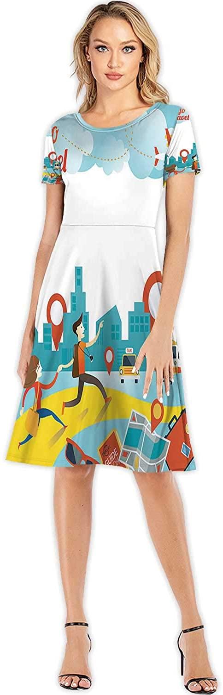 C COABALLA Couple Run to City Travel Illustration Travel,Fashion Women Slim Party Dress Couple - Relationship S