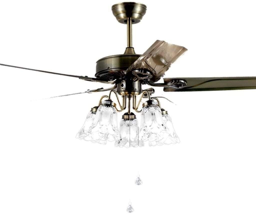 KDLW Living Room Bedroom Iron Leaf Fan Light Ceiling Lighting, Dining Room Retro Ceiling Fan Light Chandelier (Size : 108 55 cm) 0813