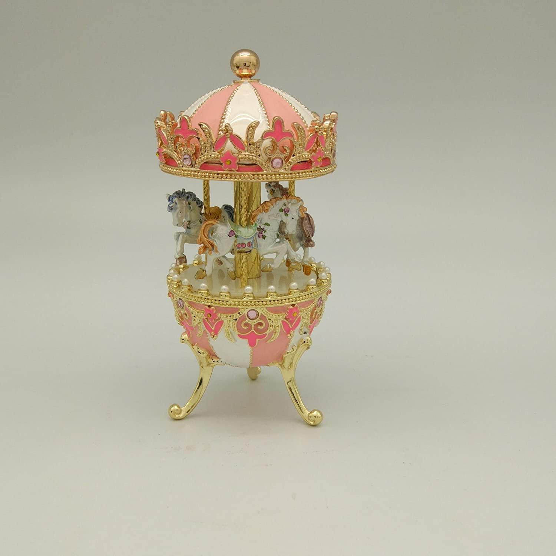 Anduola Pink Merry-go-round jewelry music box Egg