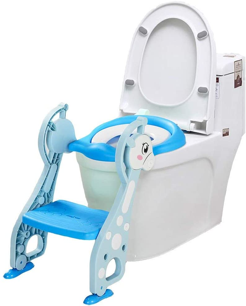 XQY Medical Bedside Commodes,Baby Toddler Toilet Seat Baby Toddler Child Potty Suitable for 1-7 Years Old Adjustable Height Safe and Comfort Toilet Ladder Boy Girl Folding Seat Toilet Training (Blue)