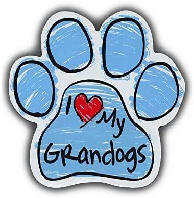 PotteLove Blue Scribble Dog Paw Shaped Magnet - I Love My Grandogs (Grand Dogs) - Cars, Trucks, SUVs, Refrigerators, Etc. - Magnetic Bumper Sticker, Art Decor