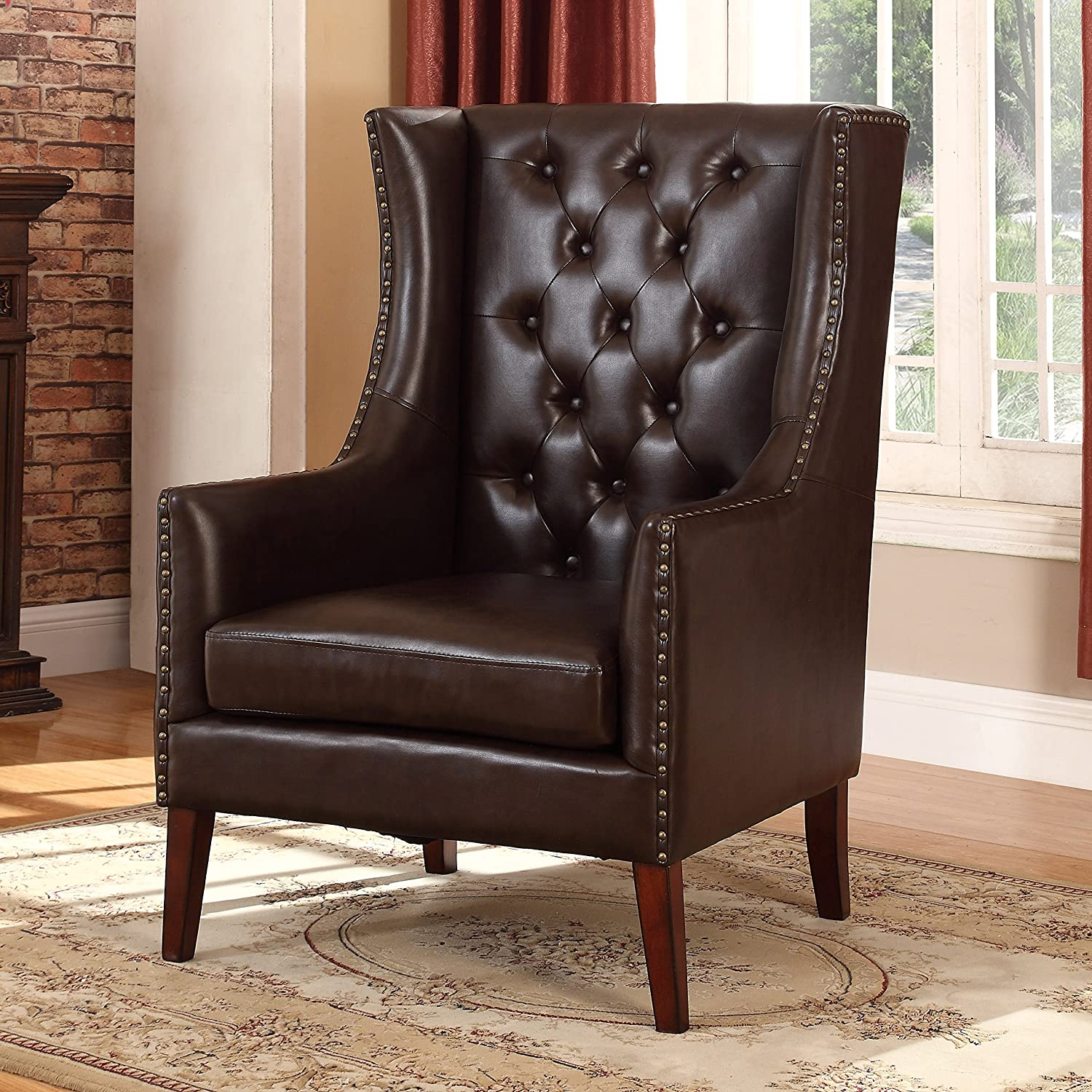 Best Master Furniture Jesse Executive Style Accent Chair, Medium, Espresso