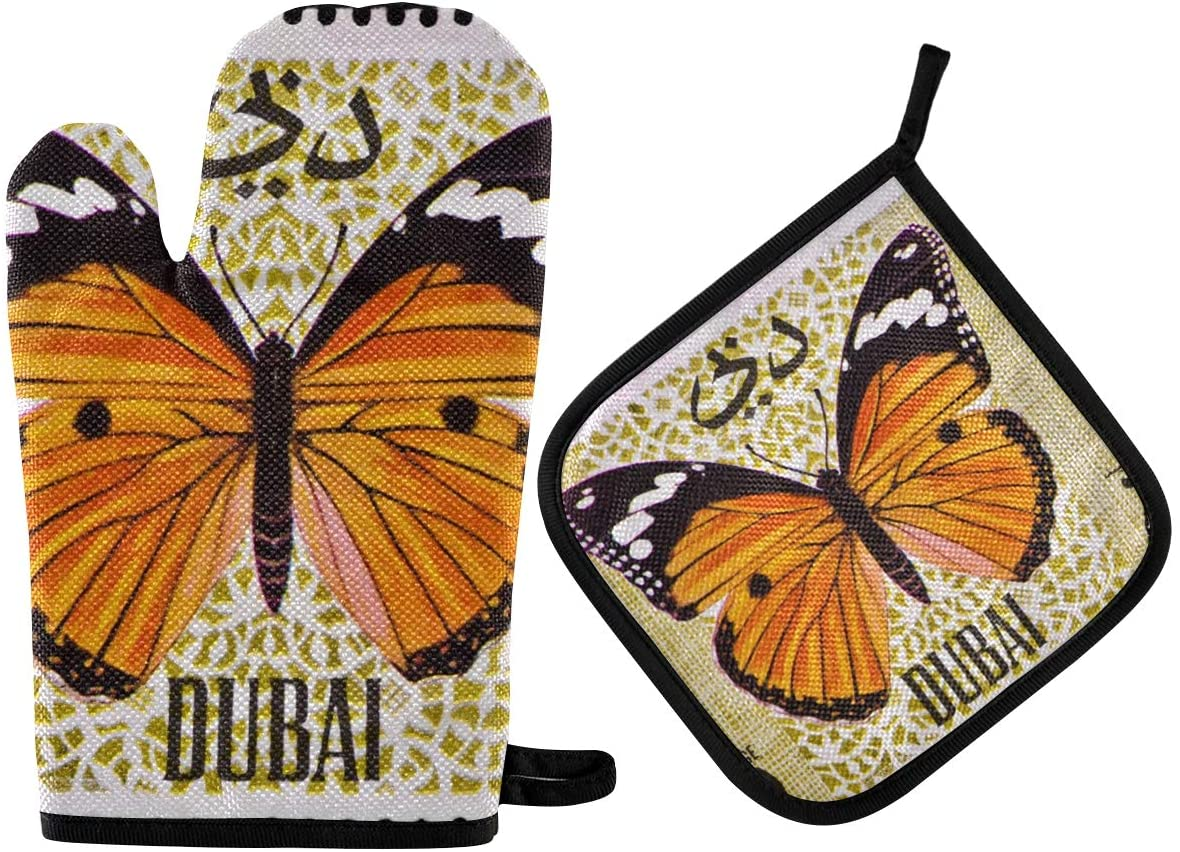 DOMIKING Pot Holders Oven Mitts Sets - Stamp Oven Gloves Heat Resistant Hot Pads Non-Slip Potholders for Kitchen Cooking Baking Grilling