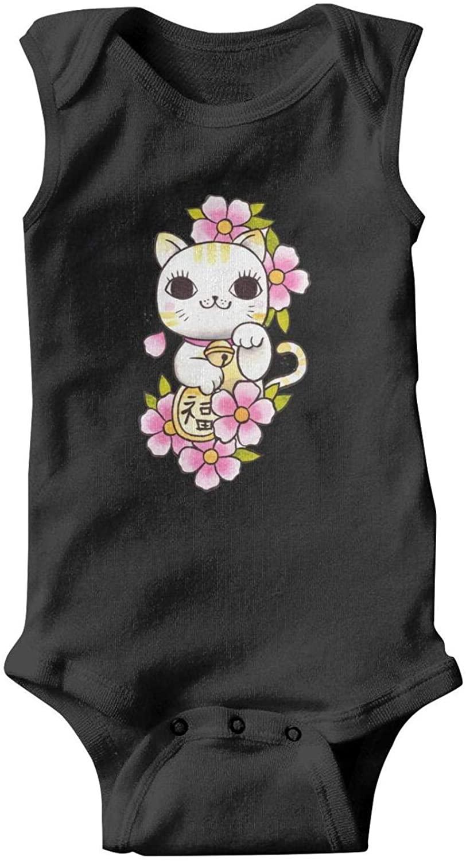 Cherry Blossom Lucky Cat Baby Boys' Girl Unisex Organic Bodysuits Baby Bodysuits Baby Onesies