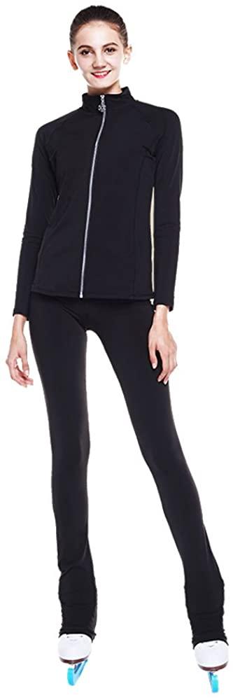 LIUHUO Figure Skating Jacket Pants Fleece Pants for Girls Black Pants for Women