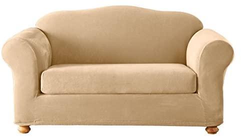 Sure Fit Slipcovers, Stretch Pique Sofa Cover, Cream