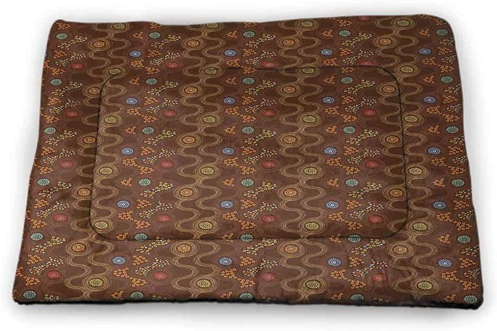 Nomorer Dog Food Mat Abstract Super Soft Pet Cushion Circular Round Soft Pastel Toned Lilac Flower Pattern Artistic Design Purplegrey Pale Pink