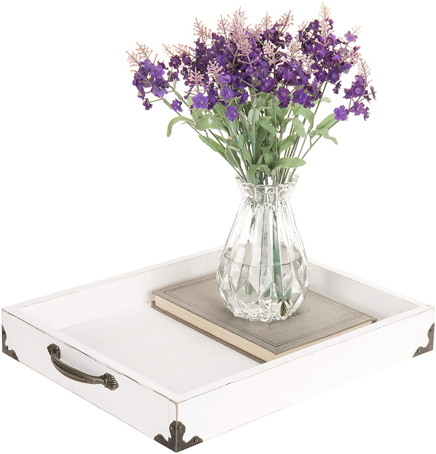 MyGift Vintage White Wood Decorative Vanity Tray with Antique Handles